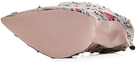 12Cm Zapatos De Tacón, Las Señoras De La Personalidad del Dril De Punta Estrecha Estilete Otoño Invierno Mid-Botas para El Partido De La Vida Diaria,2,43