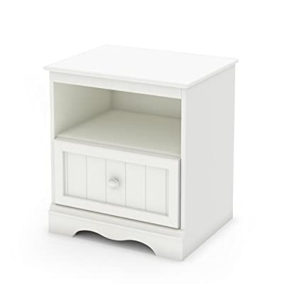 """South Shore Savannah Collection Nightstand - Pure White - SPACIOUS NIGHTSTAND: Each nightstand has an open space perfect for books and a drawer measuring 16.75"""" x 13.5"""" on the interior. Plenty of space for clothes and other items. CLASSIC DESIGN: Designed with beauty and function in mind down to the last detail. Traditional look and feel with classic details. The drawer features durable metal slides. TRADITIONAL WOODEN KNOBS: Fill your bedroom with gorgeous classic elegance. The nightstand measures 19.75'' (W) x 18.75'' (D) x 22.5'' (H). Includes unique design to fit any classic style. - bedroom-furniture, nightstands, bedroom - 31tab a%2BqWL. SS400  -"""