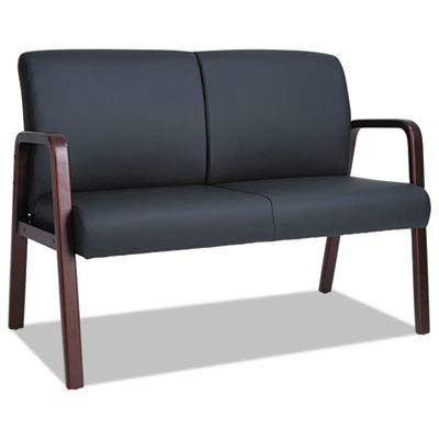 Alera RL Reception Lounge Series Wood Loveseat, 44 7/8 x 26 1/8 x 33, Black/Mahogany