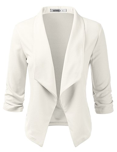 CLOVERY Women's 3/4 Sleeve Open Front Lightweight Work Office Blazer Jacket Ivory 2X Plus Size ()