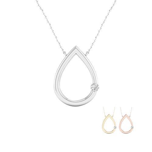 - IGI Certified 10K White Gold 1/10Ct TDW Diamond Solitaire Tear Drop Necklace(I-J,I2)
