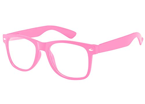 Womens Vintage Clear Lens Sunglasses Retro 80's Pink Frame Uv Protection