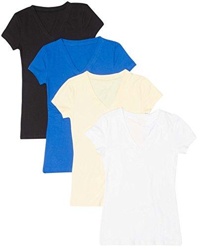 4 Pack Zenana Women's Basic V-Neck T-Shirts Small Black, White, B Blue, Banana