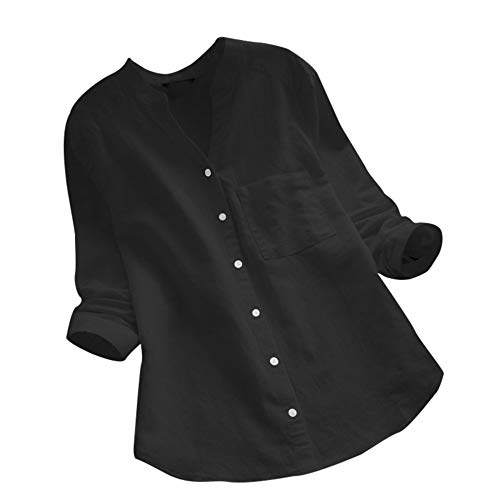 clearance sale!!ZEFOTIM Women Cotton linen Casual Solid Long Sleeve Shirt Blouse Button Down Tops (US-18/CN-XL,Black)]()