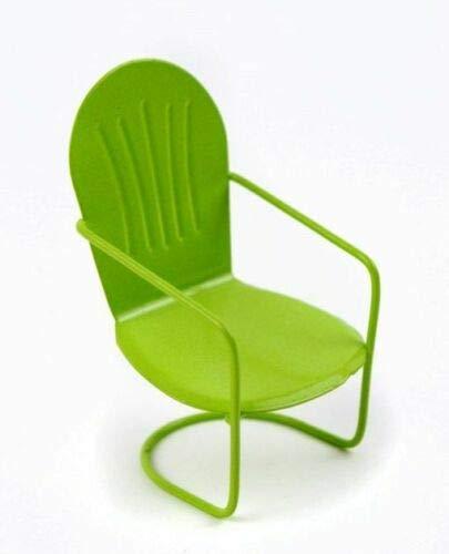 ShopForAllYou Figurines and Statues Miniature Fairy Garden Green Metal Glider Chair -