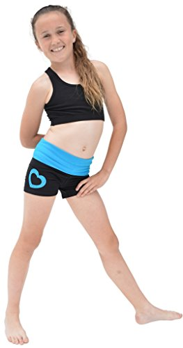 Stretch is Comfort Girl's Vinyl Heart Dance Foldover Yoga Shorts X-Large - Heart Athletic Shorts