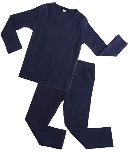 Kids Boy Girls Cotton Thermal Long Underwear Set Toddler Basic Layer Sleepwear Pajamas Set (Dark Blue, 6-12 Months)