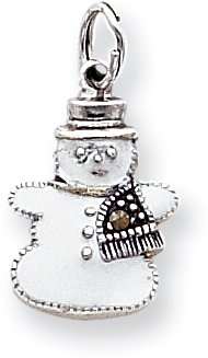 Quality Gold Marcasite Enameled Snowman Charm, Sterling Silver