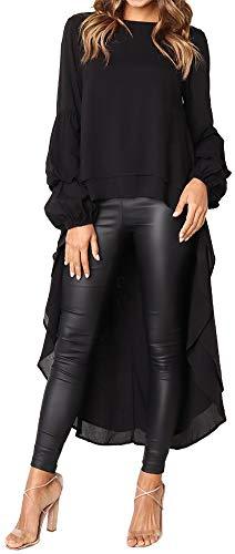 LunaJany Women's Fashion Long Bubble Sleeve Two Layer Hi-Lo Swing Dress XLarge Black