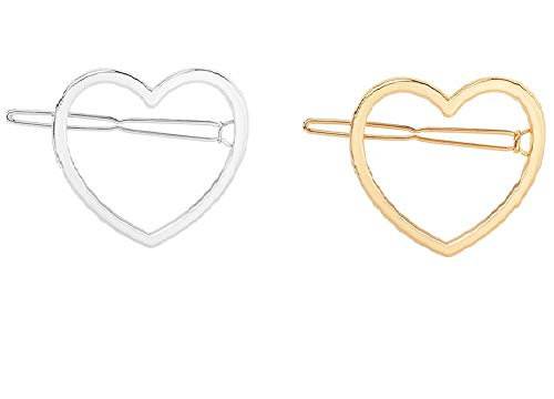 10 Pcs Simple Heart Shaped Geometric Hair Clips Alloy Hollow Hairpin Clamps Hair Accessories for Women and Girls (Gold and Silver)