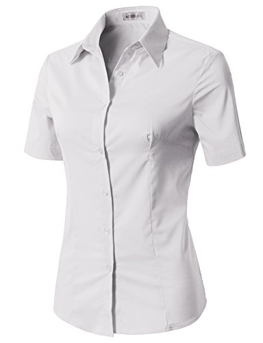 Button Down Short Sleeve Uniform - CLOVERY Women's Basic Stretchy Cotton Button Down Shirts White M