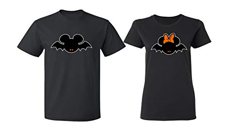 Disney Mickey Minnie Mouse Bat Halloween Costume Tee Shirt Couple for Men Women(Black-Black,Men-XL/Women-M)