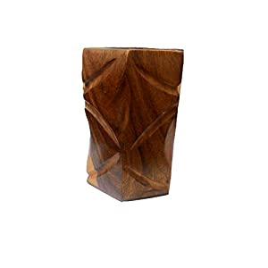 Maithil Art The Indian Arts Hand Carved Wooden Pen Stand Holder (4 Inches)