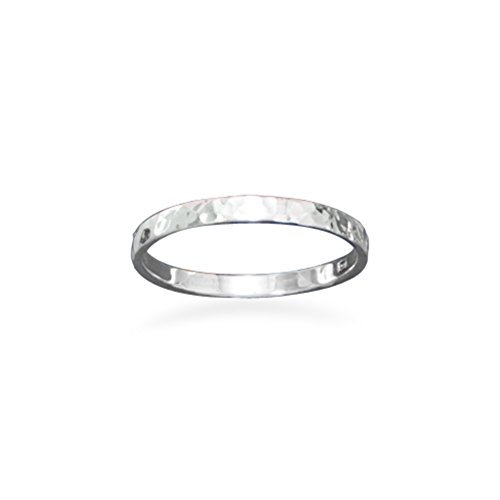 Hammered Sterling Silver Band Ring Polished 1.7mm Wide Stackable, Size 5 (Wide Band Polished Ring)