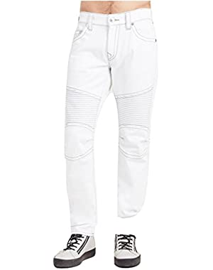 Men's Relaxed Slim Fit Moto Grey Stitch Jeans in Optic White