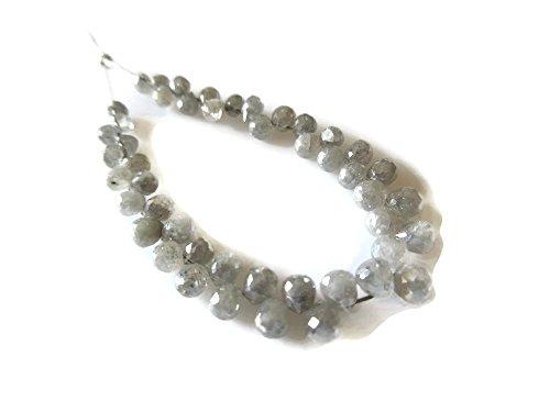 Wholesale 45 Pieces/Grey Diamond Faceted Tear Drop Briolette Beads/2.5-4mm Each -DDS302