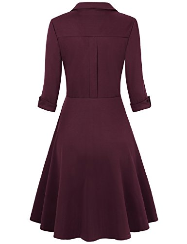 HNNATTA Vintage Dress, Women Simple Classical Casual Loose Party Swing T-Shirt Dress Wine Red Small