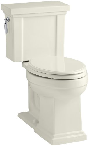 - KOHLER K-3950-96 Tresham Comfort Height Two-Piece Elongated 1.28 GPF Toilet with AquaPiston Flush Technology and Left-Hand Trip Lever, Biscuit