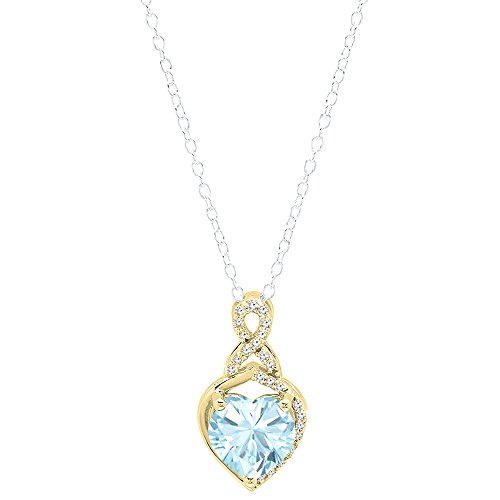 Dazzlingrock Collection 10K 8 MM Heart Shaped Aquamarine & Round White Diamond Ladies Heart Pendant, Yellow Gold