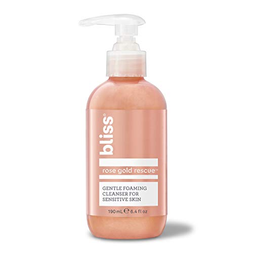 Bliss Rose Gold Rescue Cleanser, Gentle Foaming Face Wash with Soothing Rose Flower Water & Willow Bark for Sensitive Skin, Cruelty-Free, 6.4 oz