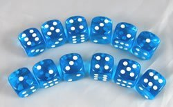 【送料無料/新品】 Turquoise Transparent of Deluxe Quality 16mm D6 Set Deluxe of 12 Set B00447BR5M, ノボリベツシ:8e8e9a11 --- cliente.opweb0005.servidorwebfacil.com