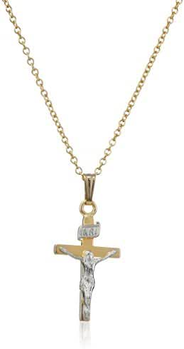 Children's 14k Gold-Filled Two-Tone Crucifix Cross Pendant Necklace, 15
