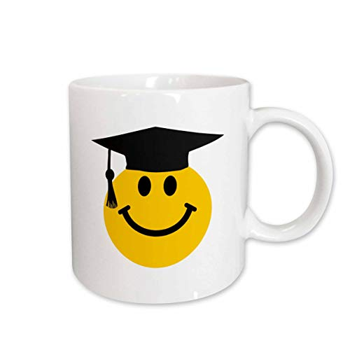 3dRose mug_123164_2 Graduate Smiley Graduating Happy Face with Black Mortarboard Hat and Tassle Uni Or School Grad Ceramic Mug, -