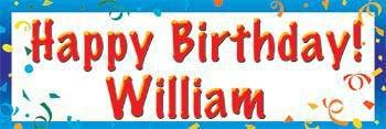 Blue Personalized Happy Birthday (Blue Personalized Banner)
