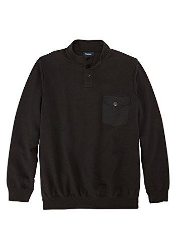 KingSize Men's Big & Tall Fleece Henley, Black Tall-4Xl - Cotton Fleece Henley