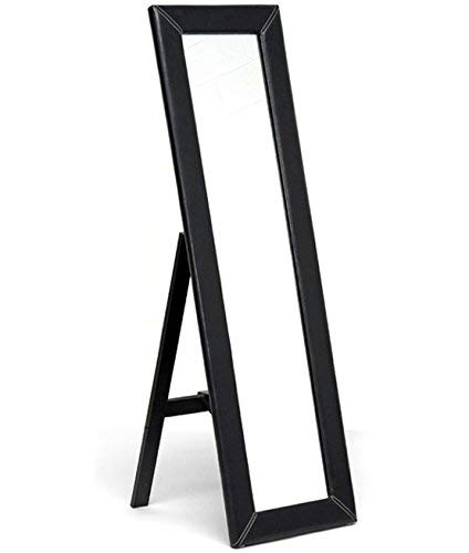 Baxton Studio McLean Dark Brown Modern Mirror with Built-in Stand