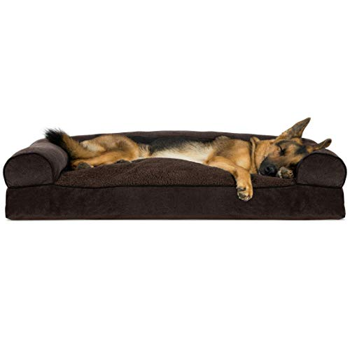 - FurHaven Pet Dog Bed | Faux Fleece & Chenille Soft Woven Pillow Sofa-Style Couch Pet Bed for Dogs & Cats, Coffee, Jumbo (Renewed)