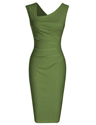 MUXXN Pinup 1950s Desgin Sleeveless Ruched Waist Bandage Bodycon Wedding Party Dress (Olive Green XXL)