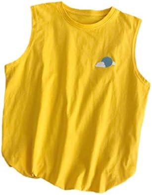 Candiyer Men Sleeveless Crewneck Baggy Embroidery 100% Heavy Cotton Tank A-Shirt