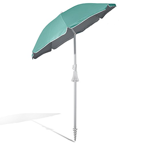 (690GRAND Deluxe 6FT Beach Umbrella with Sand Anchor UPF50+ Sunshade Aluminum Poles Polyester Canopy Vents including Crank Tilt and Carry bag)