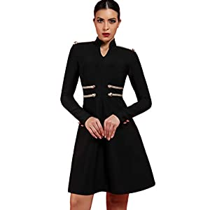 whoinshop Women's Long Sleeve Military Style A-Line Bodycon Cocktail Party Bandage Dress