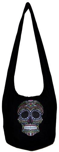 Bohemian Sugar Skull Shoulder Hippie Hobo Boho Bag Purse with Lining 35 Inch