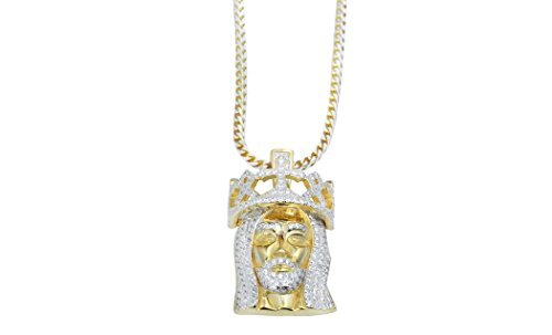 NYC Sterling Two Tone Cubic Zirconia Jesus Pendant Necklace With 20