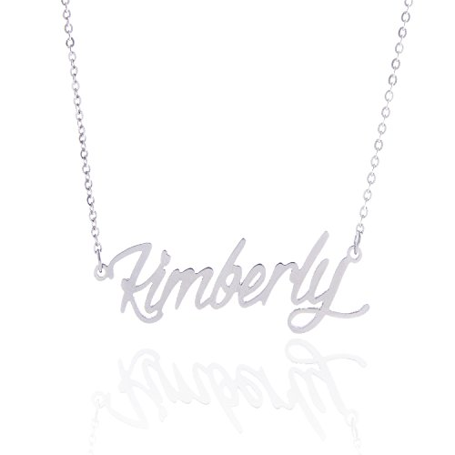AOLO Stainless Steel Custome Nameplate Necklace, Kimberly ()