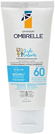 Garnier Ombrelle Kids Sunscreen Lotion, SPF 60, Hypoallergenic, Water & Sweat Resistant, Fragance Fee, 2