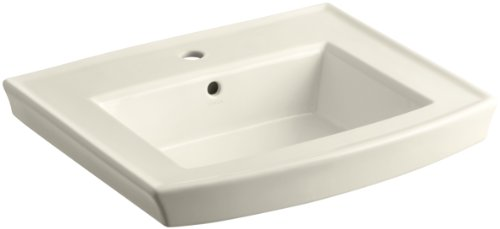 KOHLER K-2358-1-47 Archer Pedestal Bathroom Sink Basin with Single-Hole Faucet Drilling, Almond