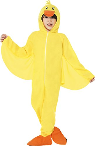[Smiffy's Children's Unisex All in One Duck Costume, Jumpsuit with Hood, Party Animals, Ages 7-9, Size: Medium, Color: Yellow,] (Yellow Beak Costume)