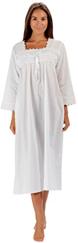 (The 1 for U 100% Cotton Nightgown 3/4 Sleeves Laura (White, XXL))