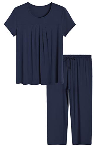 Latuza Womens Pleated Loungewear Top and Capris Pajamas Set