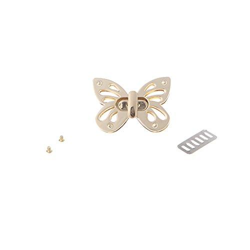 Misright 2 Sets Butterfly Metal Purse Handbag Twist Turn Lock DIY Handbag Shoulder Bag Purse Hardware Accessories (Handbag Lock Twist)