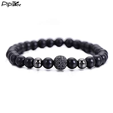 Amazon.com: BATOP Brand Fashion Black cz Ball Men Bracelet ...