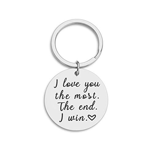 Husband Wife Keychain Gifts for Birthday Anniversary Wedding Present for Boyfriend Girlfriend Romantic Gift Idea Key Ring for Him Her I Love You Most i Win