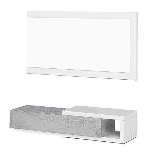 Habitdesign Recibidor con cajon y Espejo, Mueble de Entrada, Modelo Noon, Acabado en Blanco Artik y Gris Cemento, Medidas 95 cm (Ancho) x 19 cm (Alto) x 26 cm (Fondo)