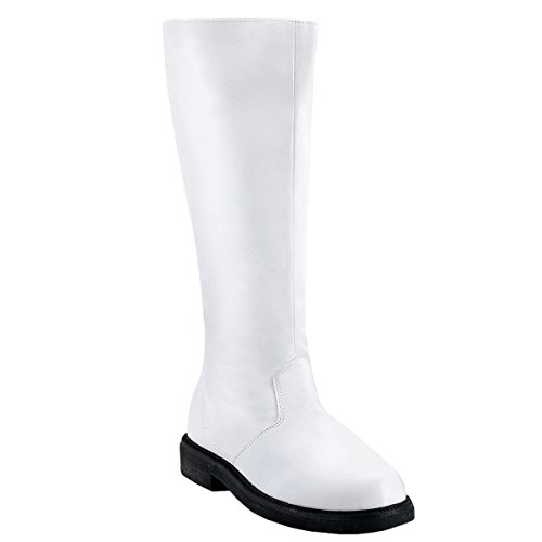 Mens Knee High Boots Pirate Boot Theatre Costume Black White Brown MENS SIZING Size: Large Colors: White