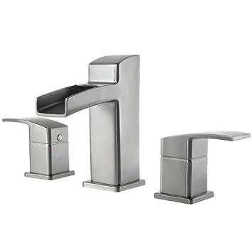 Pfister GT49DF0K Kenzo 2 Handle 8 Inch Widespread Waterfall Bathroom Faucet  In Brushed Nickel