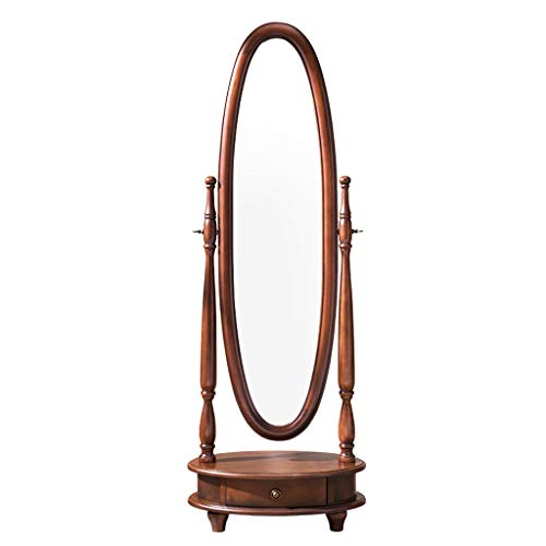 LRXG Floor Mirror,Vintage Solid Wood Free Standing Oval with Storage Antique Bevelled Full Length Mirror for Bedroom Commercial (Color : Dark Coffee Color)